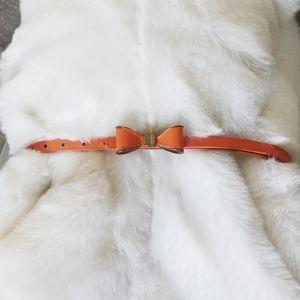 Cute bow tie skinny belt, orange pleather